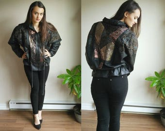 Paisley Jacket / Metallic Leather Jacket / Vintage Leather Jacket / 80s Leather Jacket / Metallic Paisley / Drawstring Jacket / Puffy Jacket