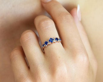 Sapphire ring gold, Princess cut ring, Sapphire engagement ring, Blue stone ring, Antique engagement ring, Art deco engagement ring