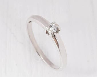 Solitaire ring, Promise ring, CZ ring silver, White cz ring, White stone ring, Promise ring for her, Ring for girlfriend, Fine ring silver