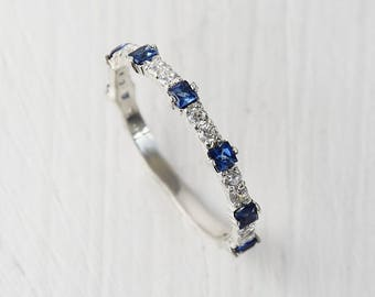 Sapphire Wedding Band Ring Unique Tiny Dainty
