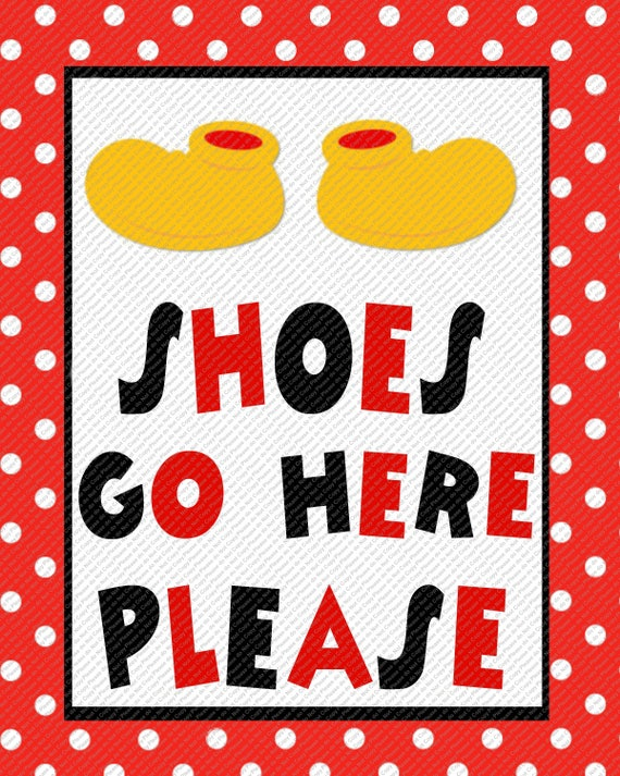 Shoes Go Here Red Black Polka Dot Mickey Mouse Shoes Party