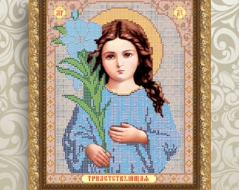 DIY bead embroidery kit Virgin Mary Our Lady Religious icon Bead embroidery patterns Religious gift Orthodox icon