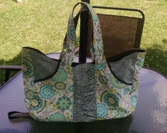 Light Green, Brown, Gray, Light Blue Tote Bag-Tote Bag Green-Tote Bag Brown-Lined Tote Bag- Cotton Tote Bag