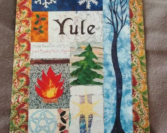 ACEO ATC Yule Quilt Print signed