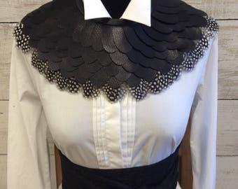 Black Pleather with black & white guinea fowl feather surround neckpiece
