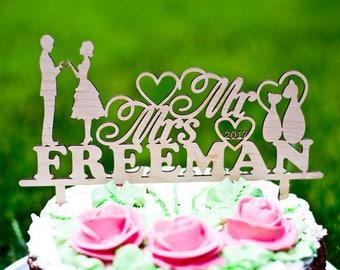 Wedding cake topper Mr and Mrs cake topper with surname Heart cake topper Custom cake topper Personalized cake topper Date topper Lasedar