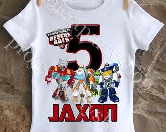 Transformers Rescue Bots Birthday Shirt, Transformers Birthday Shirt