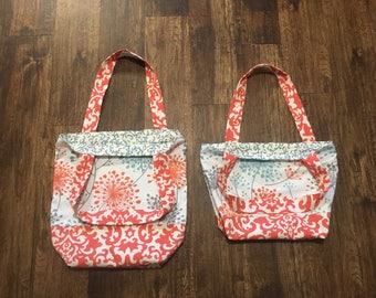 Canvas Tote Bag - coral and blue floral