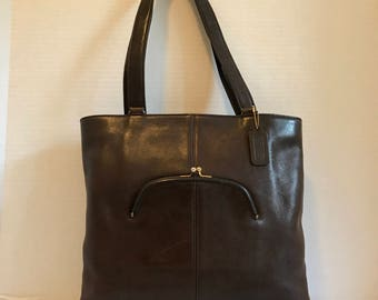 COACH Bonnie Cashin Brown Leather Tote// Shoulder Bag // Kisslock 1960s Made In NYC