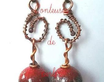 boho enameled earrings, boho enamel earrings, earring, pair of earrings, women jewels, copper, black, red