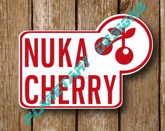 Fallout Nuka Cola Inspired Cherry Bottle Labels Nuka Cola cosplay waterproof Vinyl Decal 2x3 3-pack