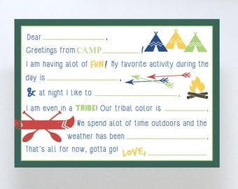 DIGITAL DOWNLOAD Camp Stationary/Summer Camp/Fill in the blank