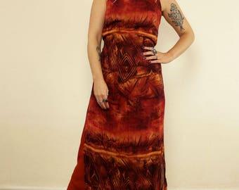 Vintage Burnt Orange Boho Printed Maxi Dress