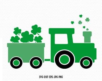 Saint patricks day train Svg, Shamrock SVG, Saint Patrick's truck train Day Svg,Clover SVG, CriCut Files svg jpg png dxf Silhouette cameo
