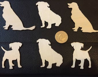Set of 6 wooden dog shapes
