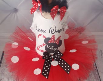 Red Minnie mouse inspired birthday tutu set red white black dots birthday outfit