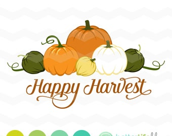Happy Harvest SVG File: Pumpkins svg File, dxf svg, bundle, DXF Silhouette Cameo, Cricut Fall Cut Files