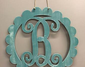 Monogram Door Hanger, Summer Door Hanger, Wooden Front Door Wreath, Front Door Decor, Wooden Letter Monogram, Rustic, Barnwood