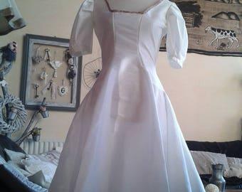 Vintage 50s white taffeta with liberty stripe dress