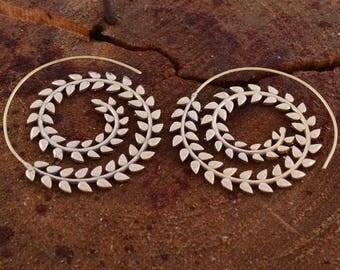 Brass Spiral Earrings Brass Tribal Earrings Boho Earrings Gypsy Hoop Earrings Ethnic Earrings Indian Bohemian Jewelry