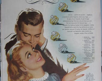 1940's- April, 1947- Life Magazine Keepsake Diamond Advertisement – Vintage Movie Ad- Vintage-Antique- Post WW II-Old Ad