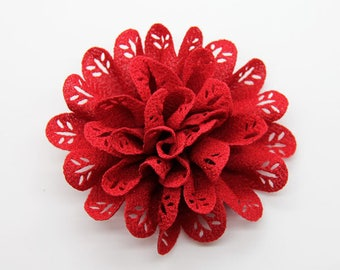 2 Red Eyelet Baby Girl Flower Hair Clips Brooches 1 Pair