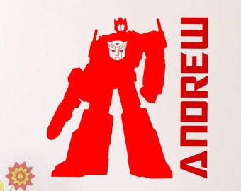 Transformers Optimus Prime Personalized Vinyl Wall Decal