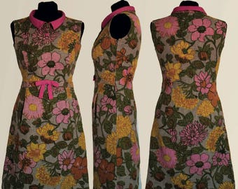 Handmade Vintage Dress dress in particular jute fabric and Rayon, entirely hand-stitched, large floral arrangements
