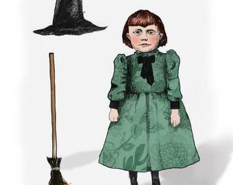 Little Witch Halloween art card