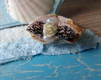 Seashell, Pearl & Flower Brooch
