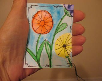 Floral Watercolor Painting, Flower Art, ACEO Original Art, One of a Kind, Miniature Art, Collectible,