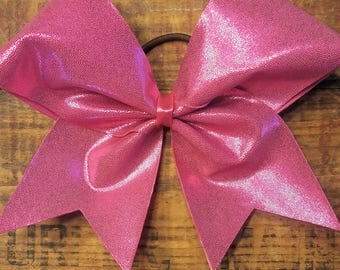 "3"" Pink Metallic-Cheer Bow-Breast Cancer Bow"