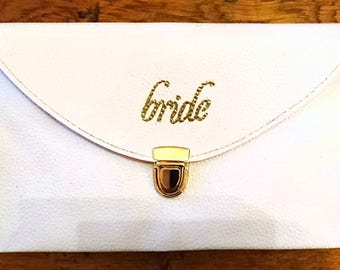 "Embossed ""Bride"" white clutch bag"