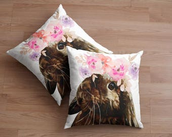 Bunny cushion cover 40x40cm cotton/poly.