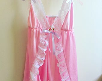 70s Vintage Pastel Pink Lace Babydoll Lolita ddlg Lingerie Boho Hippie Retro Vtg 1970s Size XXS-XS