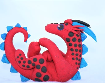 Playful Red and Blue Black-Spotted Dragon Sculpture Polymer Clay