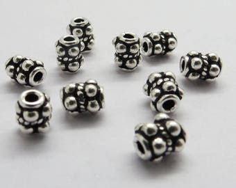 10 Pieces 925 Sterling Silver Spacer Bali Beads 6.5 mm Long