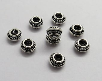 10 Pieces 925 Sterling Silver Beads Spacers 7mm Round