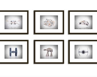 Set of 6 Star Wars wall prints, Star Wars, Star wars poster, boys decor, kids room decor, Star wars print, Star wars decor, Star wars Art