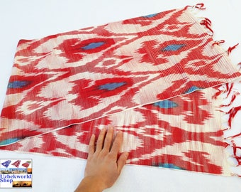 Ladies' scarf vintage uzbek traditional handmade from cotton ikat fabric