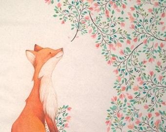 Animal baby blanket - Fox baby blanket - Custom animal blanket - Custom girl blanket - Woodland baby shower gift- Fox baby bedding - Blanket