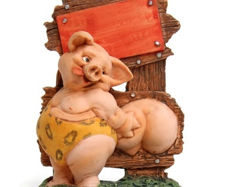Small Garden Figurine/Statue and Home Decor-Funny Sexy Garden Pig Figurines -Size 4.5''Tall. Also Great for Easy DIY Desktop Photo Holder.