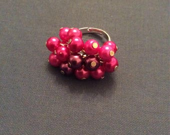 Pink pearl bead statement ring