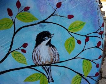 Acrylic Spring Bird Live Edge Wood Disc Painting