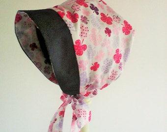 Béguin réversible ,bonnet fille ,béguin d'hiver , chapeau fille,polaire et tissu japonais , cadeau de naissance .