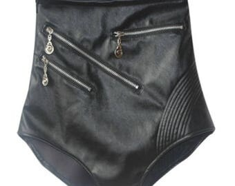 High Waisted Faux Leather Shorts