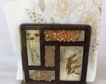 Vintage Resin Napkin Holder Seads and Grains 1970s