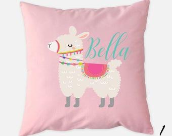 Personalized llama pillow, Llama pillow, Llama cushion, Llama throw pillow, Pink llama pillow, Kids pillow, Kids throw