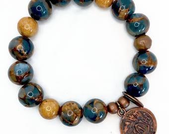 Copper Charm..ing Blue Marble Quartz Bracelet!
