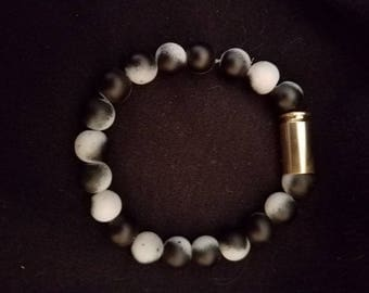 9mm Bullet Shell and beaded bracelet - Bullet jewelry